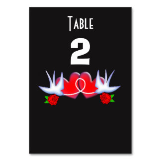 Tattoo Swallow Love Hearts Roses Red Black Card