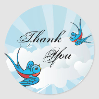 Tattoo Swallows and Scroll Urban Thank You. Round Sticker