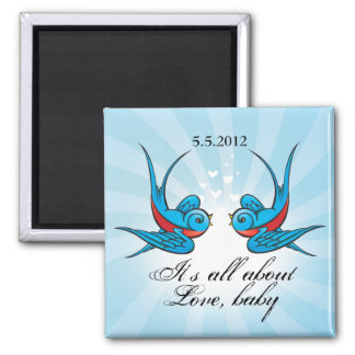 Tattoo Swallows Save the Date Wedding Magnet