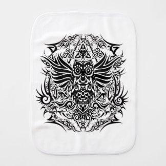 Tattoo tribal owl burp cloth
