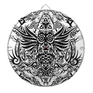 Tattoo tribal owl dartboard