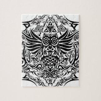 Tattoo tribal owl jigsaw puzzle