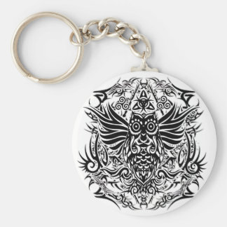 Tattoo tribal owl key ring