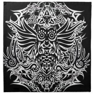 Tattoo tribal owl napkin