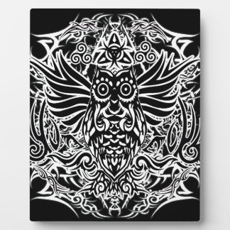 Tattoo tribal owl plaque