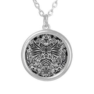 Tattoo tribal owl silver plated necklace