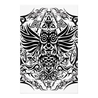Tattoo tribal owl stationery