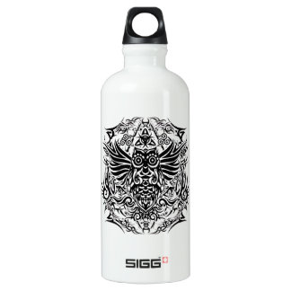 Tattoo tribal owl water bottle