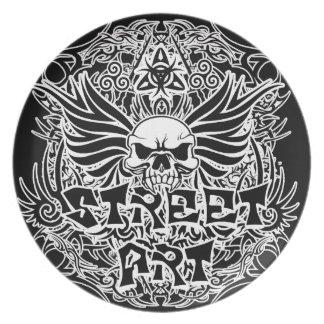 Tattoo tribal street art plate