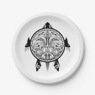 Tattoo Tribal Turtle Paper Plate