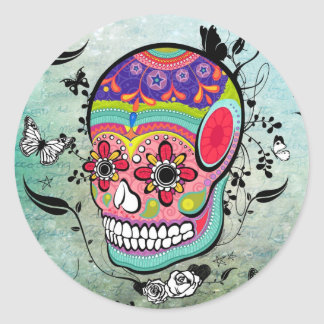 Tattoo Urban Muerte Day of the Dead. Round Stickers