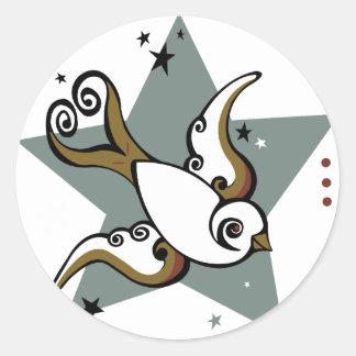 Tattoo Urban Swallow Bird Design Round Sticker