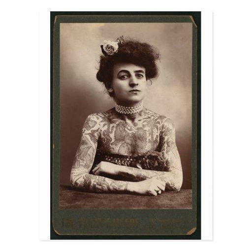 Tattooed American Woman Post Card