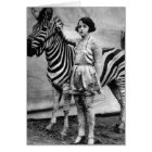 Tattooed Circus Lady and Zebra Card - Blank Inside