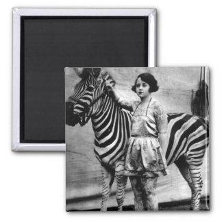 Tattooed Circus Lady and Zebra Square Magnet