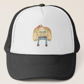 Tattooed Dangerous Criminal Outlined Comics Style Trucker Hat