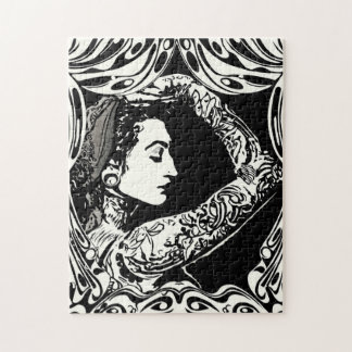 Tattooed gypsy woman in black and white puzzle