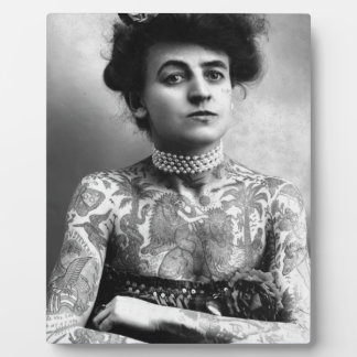 Tattooed Lady - Woman with Tattoos - vintage Plaque