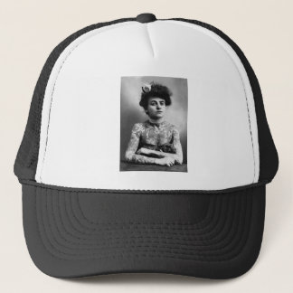 Tattooed Lady - Woman with Tattoos - vintage Trucker Hat