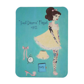Tattooed Retro 1960s Doll Inspired Painting Magnet