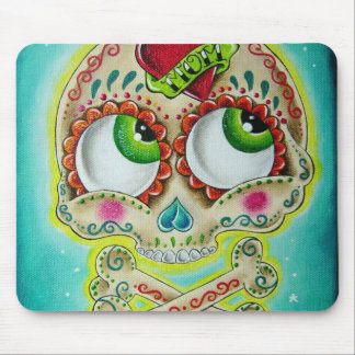 Tattooed sugar skull mouse pad