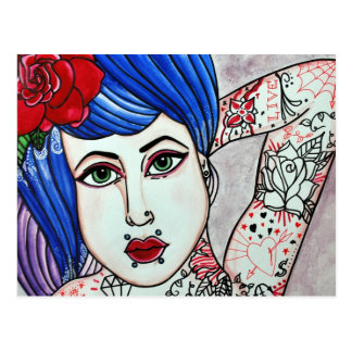 tattooed temptress postcard