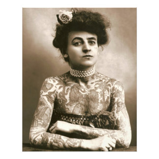 Tattooed with Pearls Victorian Lady Framable Photo