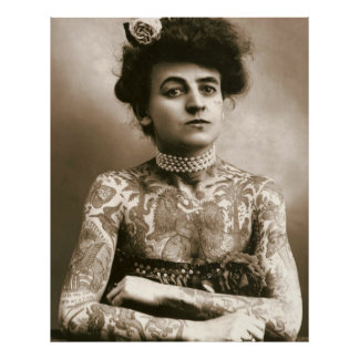 Tattooed with Pearls, Victorian Lady Poster