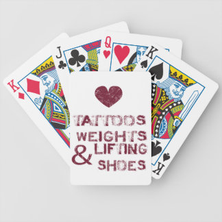 tattoos weights shoes female bicycle playing cards