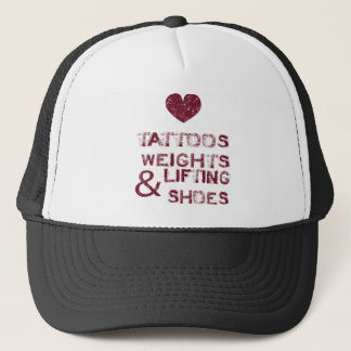 tattoos weights shoes female trucker hat