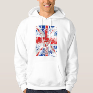 Tatty Scratch Effect Union Jack Hoodie Sweater