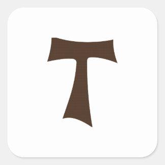 Tau Cross or Crux Commissa Square Sticker