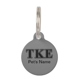 Tau Kappa Epsilon Black Letters Pet Name Tag