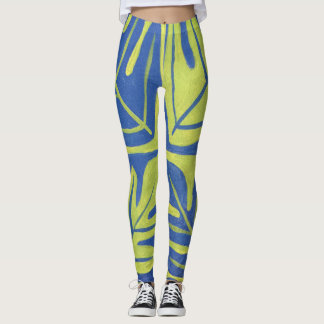 Tauati Fern of Blue and Lime Leggings
