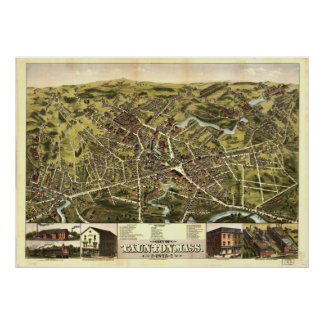 Taunton Massachusetts 1875 Antique Panoramic Map Poster