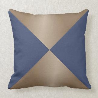 Taupe and Blue Triangle Modern Print Cushion