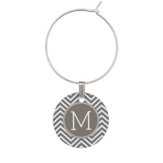 Taupe and Charcoal Modern Chevrons Monogram Wine Charm