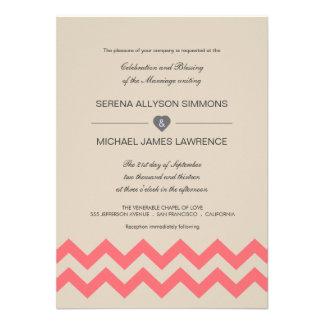 Taupe and Coral Chevron Wedding Invitations