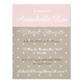 Taupe and Pink Bridal Shower Invitation