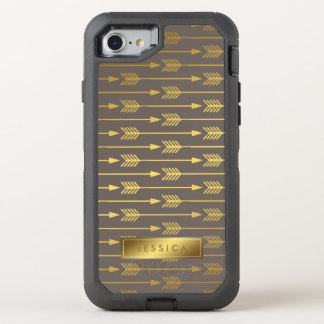 Taupe and Printed Gold Arrows Pattern OtterBox Defender iPhone 8/7 Case