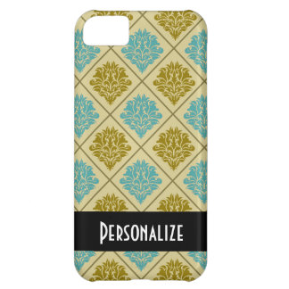 taupe and teal diamond damask iPhone 5C case