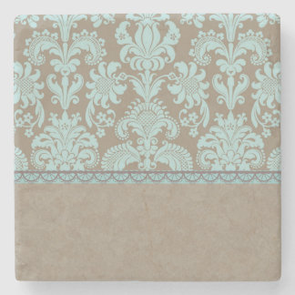 Taupe and Turquoise Damask Stone Coaster