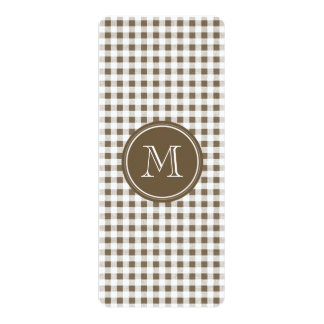 Taupe and White Gingham, Your Monogram Invitations