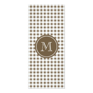Taupe and White Gingham, Your Monogram 10 Cm X 24 Cm Invitation Card