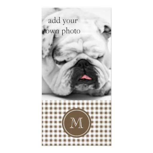 Taupe and White Gingham, Your Monogram Personalized Photo Card