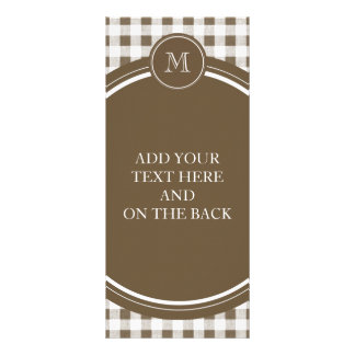 Taupe and White Gingham, Your Monogram Rack Card