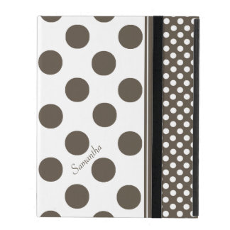 Taupe and White Polka Dot Pattern iPad Case