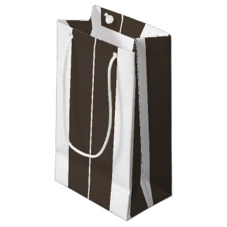 Taupe and White Striped Gift Bag