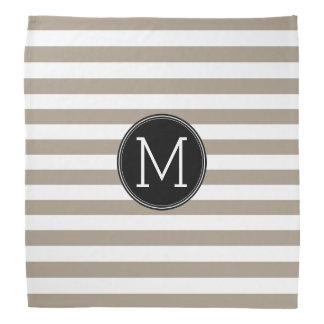 Taupe and White Striped Pattern Black Monogram Bandana