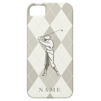 Taupe Argyle Pattern, Personalized Golf iPhone 5 Cover